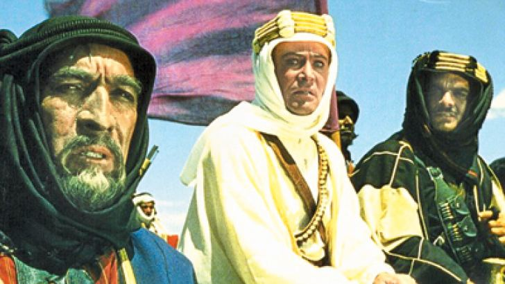 Late Omar Sharif, far right with Anthony Quinn and Peter O'toole, was awarded second place, for his renowned entrance on camel back in the hit film Lawrence of Arabia.