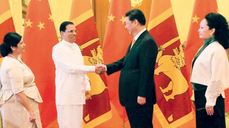 President Maithripala Sirisena with Xi Jinping, President of the People's Republic of China in China