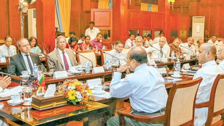 President Maithripala Sirisena addressing the second phase of the all party meeting held at the Presidential Secretariat yesterday. Picture courtesy President's Media Division