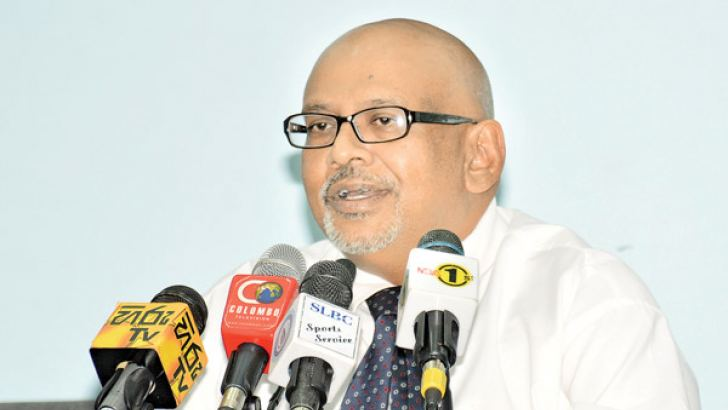 Sri Lanka Anti Doping Agency (SLADA) Chairman Dr Seevali Jayawickrama addressing the media at the media briefing held at Government Information Department on Tuesday. Picture by Sarath Peiris.