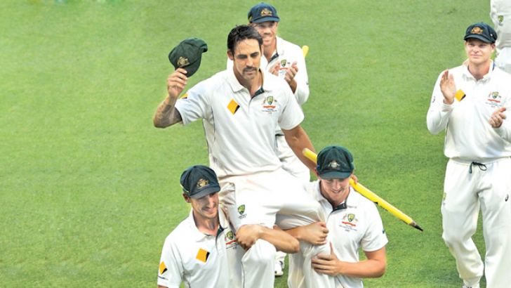 Australias Mitchell Johnson is carried off at the end of the final day of the second cricket Test match between Australia and New Zealand in Perth on November 17. AFP