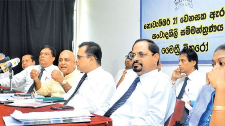 Members of Maithri Mithuro Organisation at the press briefing yesterday. Picture by Lalith C. Gamage