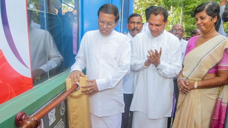 President Maithripala Sirisena participates in the opening of the newly built Jeyaraj Fernandopulle Indoor Stadium at the Damsara Vidyalaya in Seeduwa