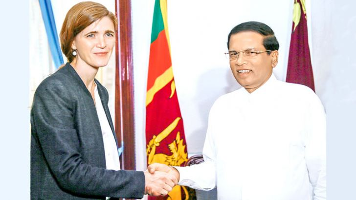 Visiting US Ambassador to the United Nations Samantha Power called on  President Maithripala Sirisena at the Presidential Secretariat  yesterday. Foreign Minister Mangala Samaraweera and Secretary to the  President P.B.Abeykoon were also present. – See page 17 Picture by President's Media  Unit