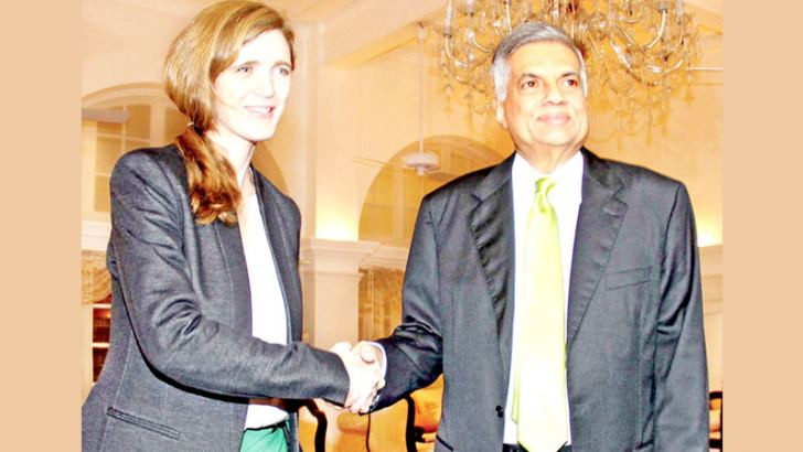 US Permanent Representative to the United Nations Samantha Power meeting Prime Minister Ranil Wickremeasinghe at Temple Trees yesterday. –See page 17 Picture by Sulochana Gamage