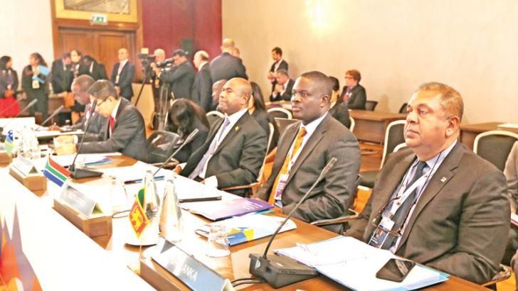 Foreign Minister Mangala Samaraweera attending the Commonwealth Ministerial Action Group Meeting in Malta yesterday. Picture by Sudath Silva