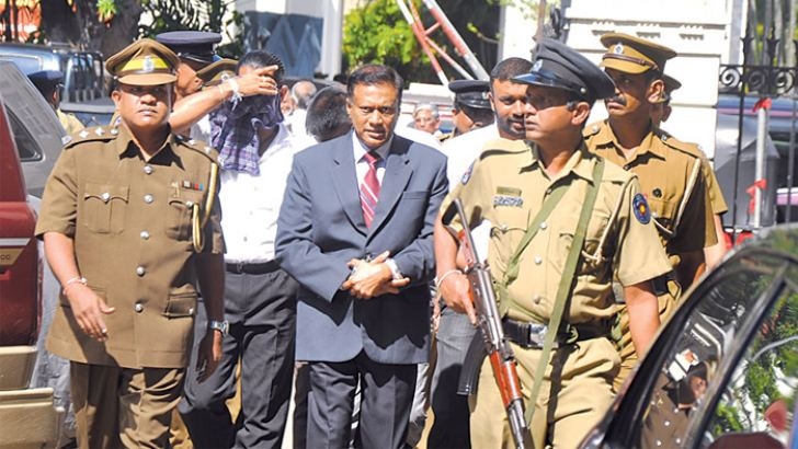 Former DIG Vaas Gunawardena being brought to court. Picture by Gayan Pushpika