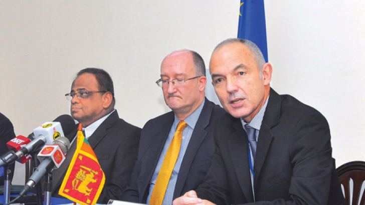 The EU delegation at the press briefing. Picture by Thushara Fernando