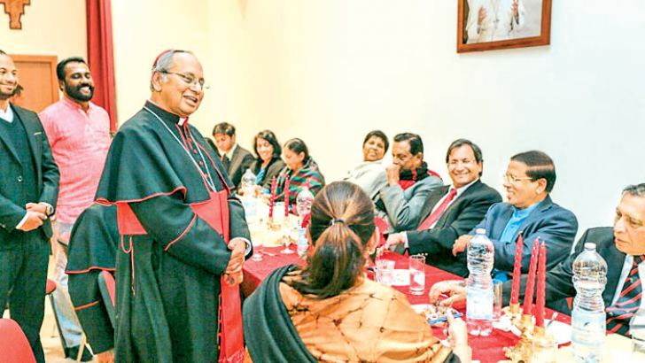 Archbishop Malcolm Cardinal Ranjith speaking at the banquet hosted in honour of President Maithripala Sirisena on Tuesday in Livia Bella, Rome.