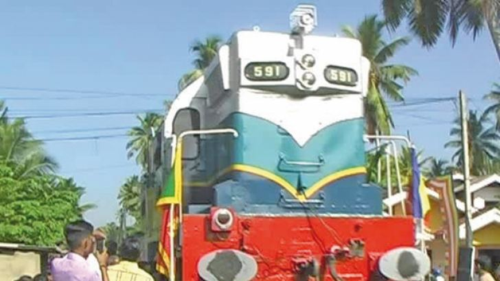 The renovated ill fated train engine arriving at Peraliya.