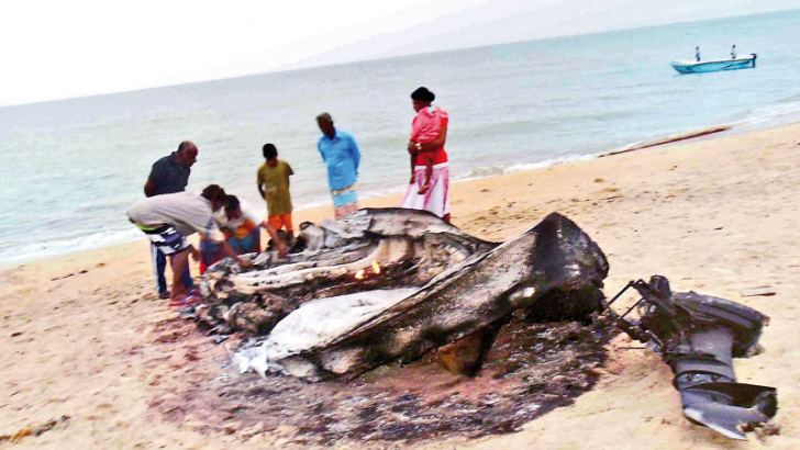 The fishing boat destroyed by the fire. Picture by Kalpitiya group cor