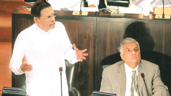 President Maithripala Sirisena delivering the special statement in Parliament on Saturday. Prime Minister Ranil Wickremesinghe is also in the picture. Picture by President's media