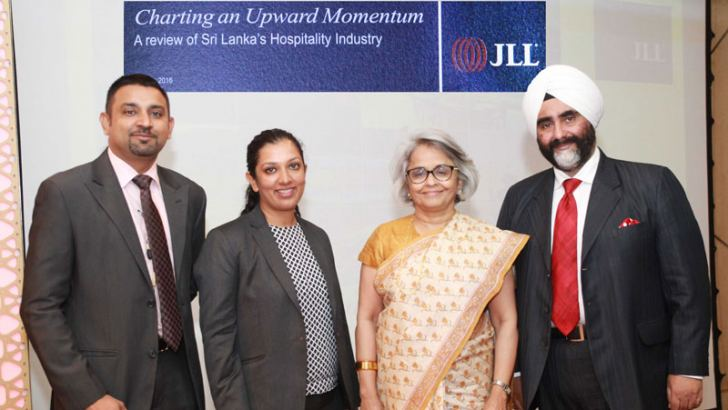 Roopa George, Assistant Vice President, JLL Hotels and Hospitality, Gagan Singh, CEO, Business India and Chairperson Sri Lanka Operations JLL, Mandeep Lamba, Managing Director,JLL Hotels and Hospitality and another official of JLL Hotels and Hospitality at the event Picture ByThushara Fernando