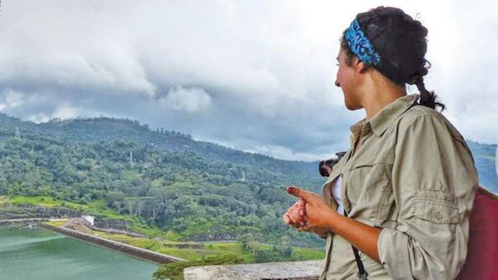 Postdoctoral scholar Debra Perrone visited Kotmale Dam, Sri Lanka, as  part of her research on weighing food and energy tradeoffs when water is  scarce. Credit: Dawn Ruth