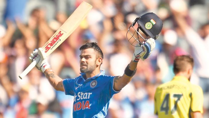 Virat Kohli celebrates his 24th ODI hundred and also becomes the fastest player to reach 7000 runs in the one-day format.