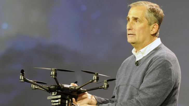 Intel CEO Brian Krzanich demonstrating the broad capabilities of unmanned aerial vehicle (UAV) technology