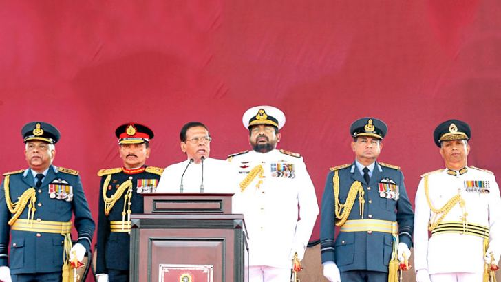 President Maithripala Sirisena Addressing the Nation with Chief of Defence Staff,  Tri Forces Commanders and the IGP in the background.