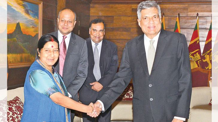 Indian External Affairs Minister Sushma Swaraj who arrived in Sri Lanka yesterday called on Prime Minister Ranil Wickremesinghe at Temple Trees.  Picture by Saman Mendis