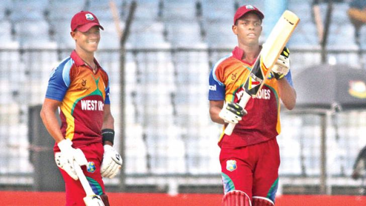 Shimron Hetmyer and Tavin Imlach who led West Indies' successful run chase with half centuries apiece against Pakistan in the Under 19 World Cup semi-final at Fatullah yesterday. (ICC)