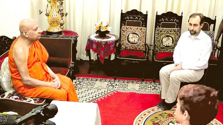 UN  High Commissioner for Human Rights Prince Zeid Ra'ad al Hussain calling on Most Ven. Tibbotuwawe Sri Sidhartha Sumangala Mahanayake Thera of the  Malwatte Chapter