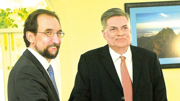 UN High Commissioner for Human Rights Prince Zeid Ra'ad Al Hussein met Prime Minister Ranil Wickremesinghe yesterday. Picture by Rukmal Gamage