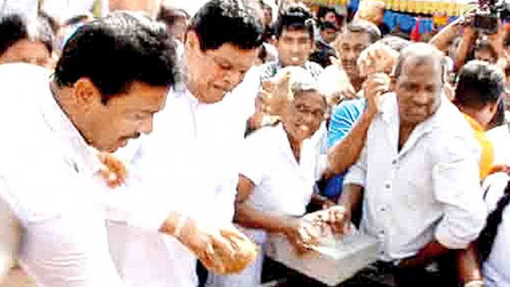 The joint opposition and their political activists on Saturday dashed coconuts at Seenigama Devalaya against the government and the Financial Crimes Investigation Division of the Police.