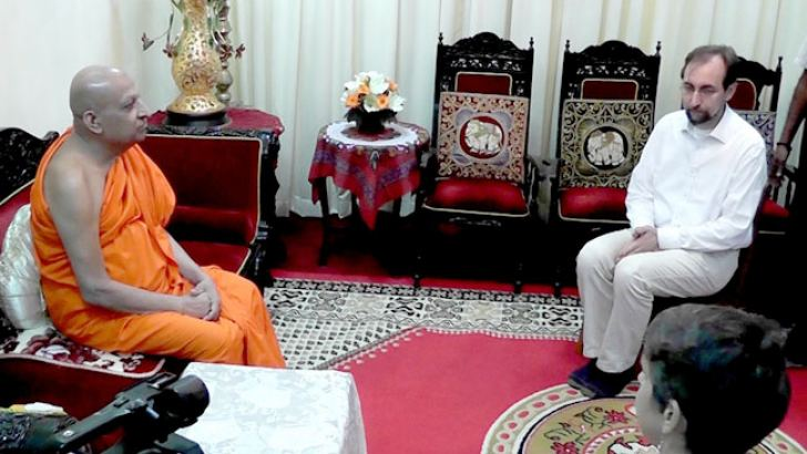 UN High Commissioner for Human Rights Prince Zeid Ra'ad al Hussain who was on a visit to Sri Lanka paying a courtesy call on Most Ven. Tibbotuwawe Sri Sidhartha Sumangala Mahanayake Thera of the Malwatte Chapter. Picture by Asela Kuruluwansa