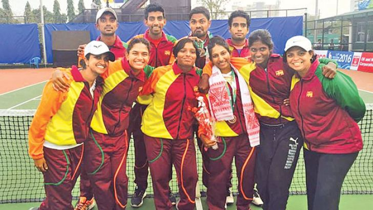 The Sri Lankan tennis team which won eight medals at the 12th SA Games