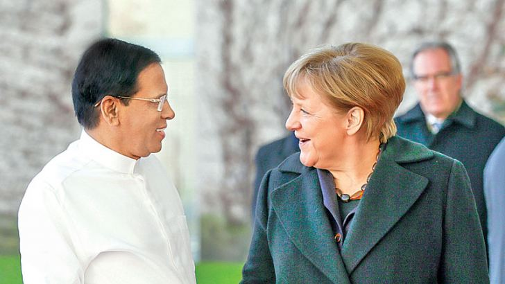 President Maithripala Sirisena who is on a state visit to Germany met Federal Chancellor of Germany Dr. Angela Merkel yesterday. A Guard of Honour was also held to welcome President Sirisena. Picture by President's Media