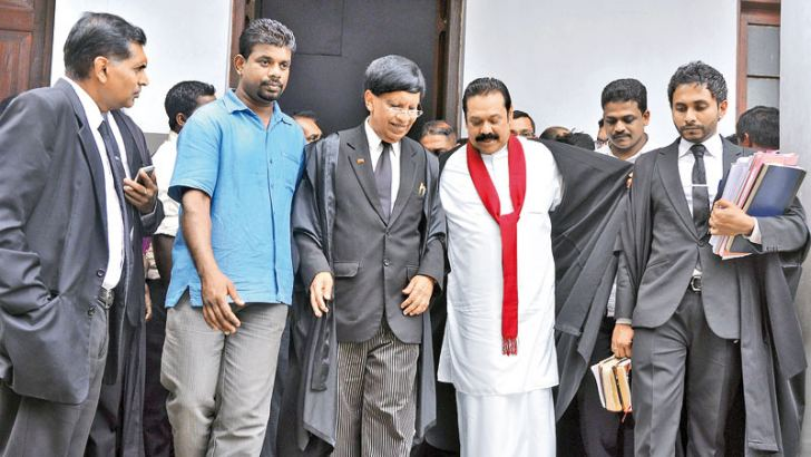 Former President Mahinda Rajapaksa marked his appearance at the Colombo High Court yesterday at the bail hearing of Yoshitha Rajapaksa. Picture by Thushara Fernando