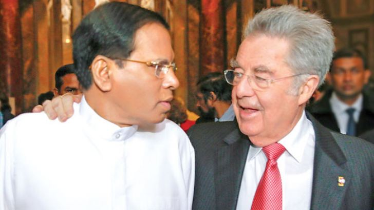 President Maithripala Sirisena and his wife while on a state visit to Austria visited the world famous National History Museum in Vienna. Here, Austrian President Dr. Heinz Fischer in conversation with President Sirisena. Picture by Sudath Silva