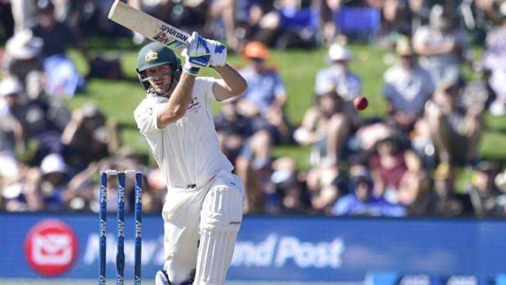 Australia's Joe Burns plays a shot during day two of the second cricket Test match between New Zealand and Australia at the Hagley Park in Christchurch on February 21. AFP