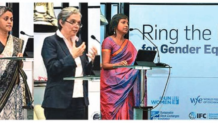 Ms. Ramani Muttettuwegama - Senior Partner at Tiruchelvam Associates, Mrs. Francoise Clottes –World Bank Country Director for Sri Lanka and Maldives and Ms. Shiromal Cooray - Chairperson of SLID speaking at the event