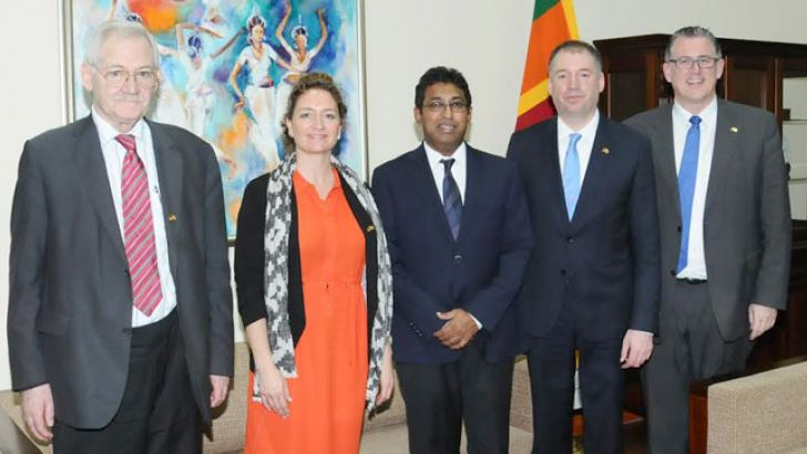 Acting Minister of Foreign Affairs Dr. Harsha de Silva with members of the German-South -Asia Parliamentary Friendship Group on official tour to Sri Lanka.