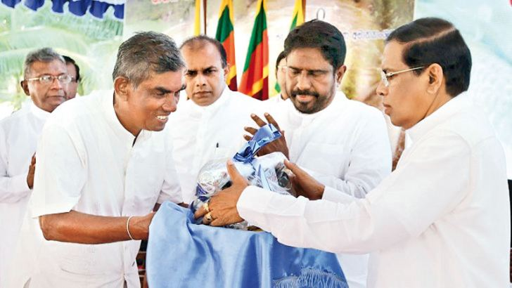 President Maithripala Sirisena at the Govi Samuluwai – Jana Suwayai, farmers conference at the BMICH.