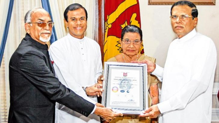 Vogue Jewellers (Private) Ltd became the first jeweller in the world to  be certified by the latest standard of quality assurance ISO 9001:2015.President  Maithripala Sirisena presented the ISO certificate to Vogue Jewellers Managing Director Anura Hemachandra  at the Presidential Secretariat, in the presence Vogue Jewellers Chairperson Chandra Hemachandra.  Dr. Sundar Kateria  International Certification Services  Chairman and Managing Director accredited by joint Accreditation System of Australia and New