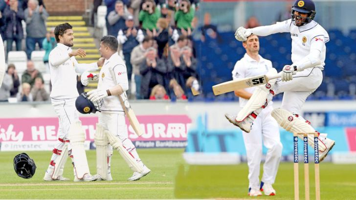 [Left]Dinesh Chandimal and Rangana Herath during their seventh wicket partnership of 116 runs that frustrated England. , [right] Dinesh Chandimal is ecstatic as he celebrates his sixth Test hundred and his first against England on the fourth day of the second Test at Chester-le-Street on Monday.