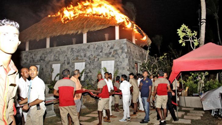 """A fire broke out at a pavilion of the """"Shangri-la"""" Hotel in Hambantota, Sri Lanaka's first fully foreign owned five star hotel outside Colombo. It was sparked after the fireworks display at the ceremony. No one was injured in the incident and the fire was doused quickly. Picture by Saliya Rupesinghe"""