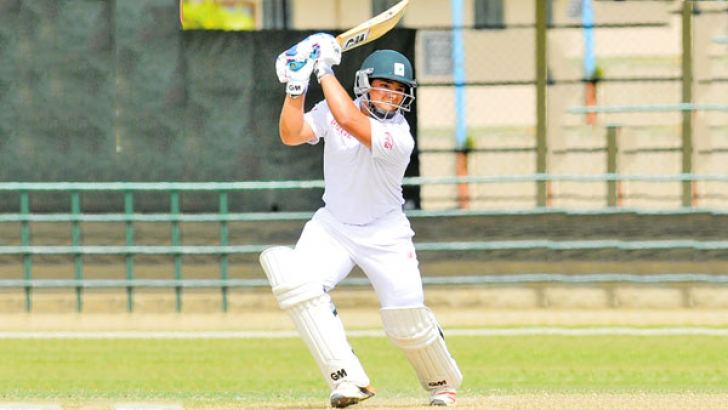 South Africa Under-19 batsman Richardo Vanconcelos plays a shot on the first day of the first Youth Test for the Gamini Dissanayake Challenge Trophy against Sri Lanka Under-19 at the P Sara Oval, yesterday. Picture by Rukmal Gamage.
