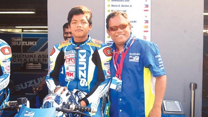 Aaron Gunawardena (left) creating waves in motor sports at a very young age.