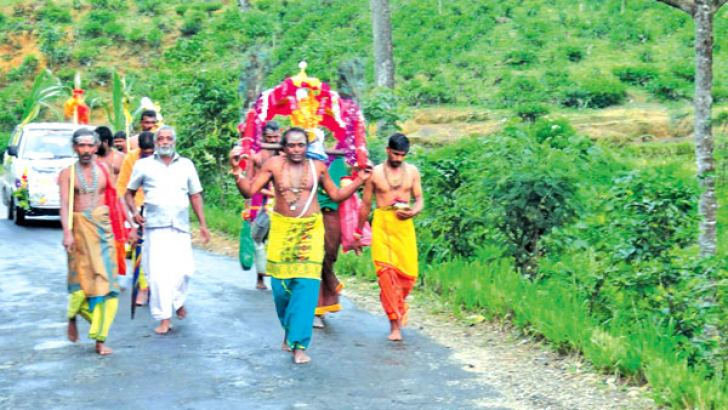 A group of 64Hindu devotees set off on a Pada Yatra pilgrimage to Kataragama from Nallathanniya on June 26. They are expected to pass through Maskeliya, Norwood, Hatton, Thalawakele, Nuwara Eliya, Welimada, Ella, Wellawaya and Thanamalwila, and reach Kataragama in ten days, in time for the fire walking and water cutting ceremonies. Pictures by Maskeliya group cor.