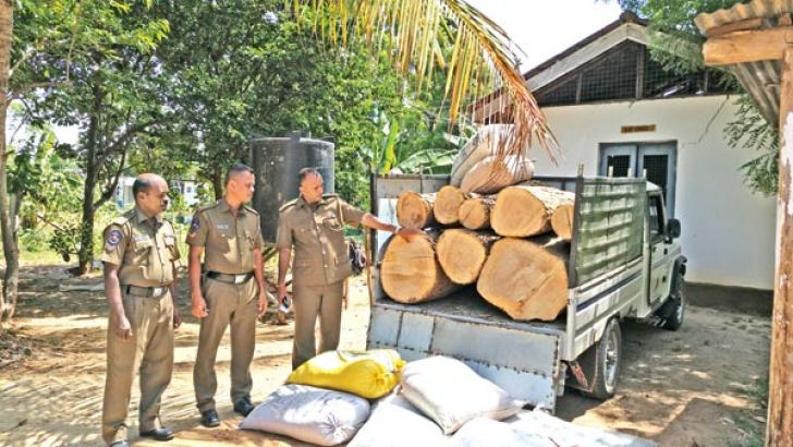 The police team that seized the stock of timber