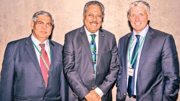 Outgoing ICC president Zaheer Abbas is flanked by ICC chairman Shashank Manohar and ICC CEO Dave Richardson.