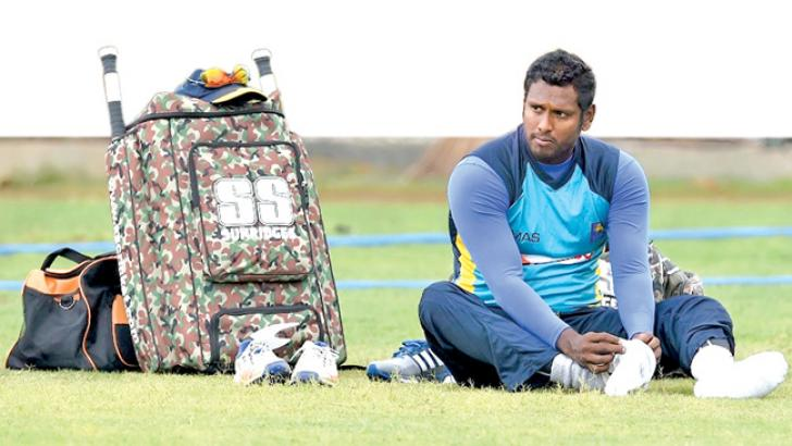 Sri Lanka  captain Angelo Mathews takes a breather during practice. AFP
