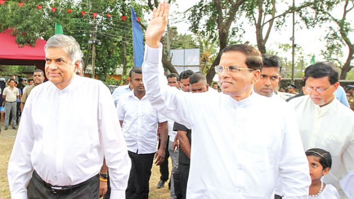President Maithripala Sirisena with Prime Minister Ranil Wickremesinghe