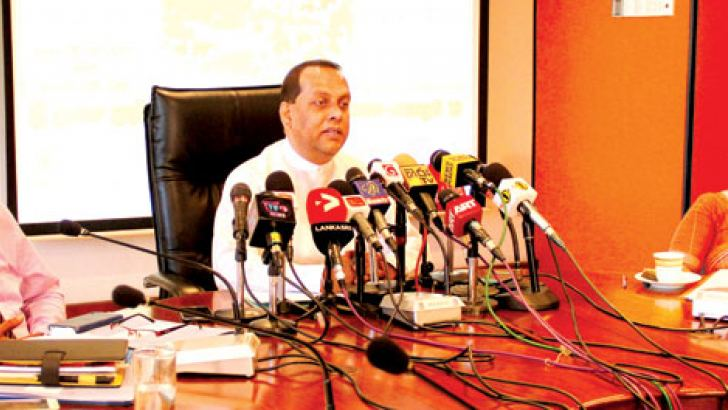 Fisheries and Aquatic Resources Development Minister Mahinda Amaraweera and other officials at the press conference yesterday. Picture by Mahinda Vithaanachchi