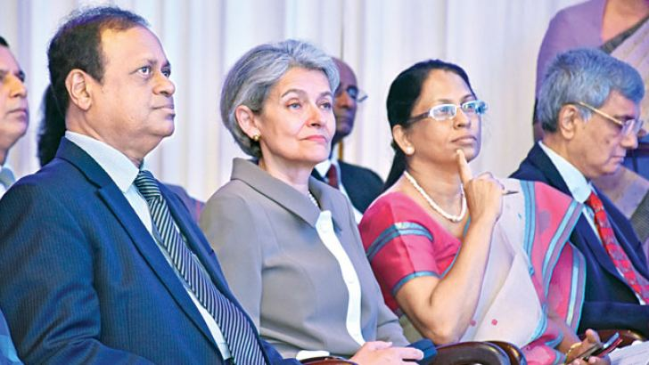 Science, Technology and Research Minister Susil Premajayantha and UNESCO Director General Irina Bokowa at the Science Dialogue organised by the National Science Foundation (NSF). Picture by Gayan Pushpika