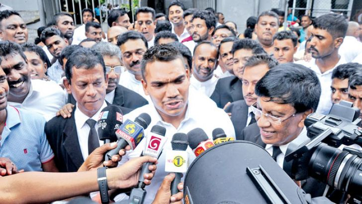 Namal Rajapaksa who was released under strict bail conditions on August 22. Picture by Susantha Wijegunasekera