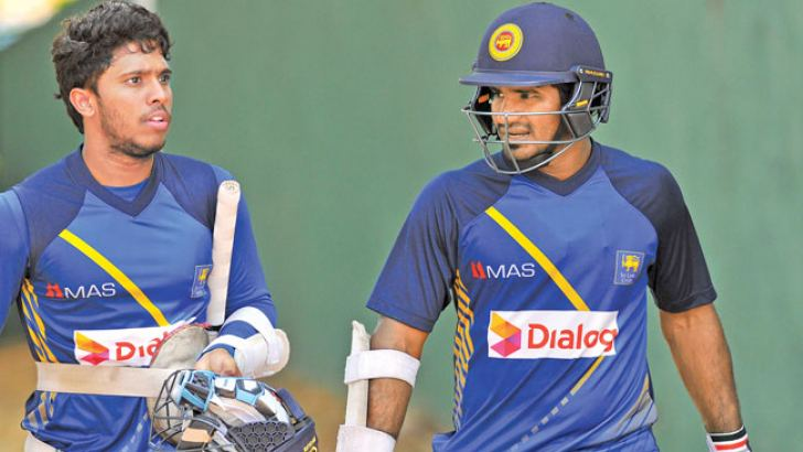 The two Kusals – Mendis (on left) and Perera at the Dambulla Stadium nets yesterday.