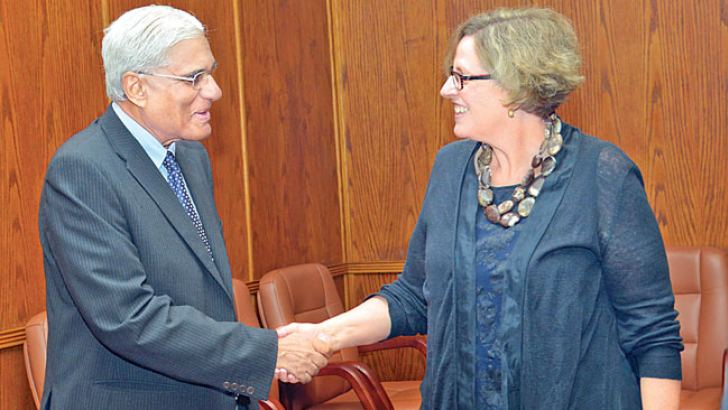 Governor, Central Bank Dr Indrajit Coomaraswamy with Annette Dixon, Vice President/South Asia Region of World Bank who is currently visiting Sri Lanka  at the Governor's Office of the Central Bank of Sri Lanka